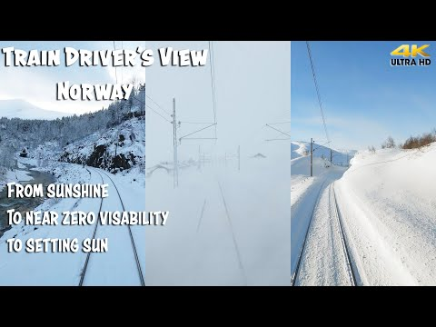 TRAIN DRIVER'S VIEW: From Sunshine To Near Zero Visibility To Sunset