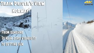 Фото Train Driverand39s View From Sunshine To Near Zero Visibility To Sunset