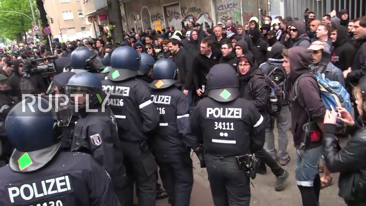 Germany: Police and protesters scuffle at Berlin May Day ...