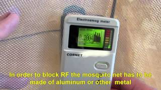 Blocking RF EMR with Aluminum Mosquito net
