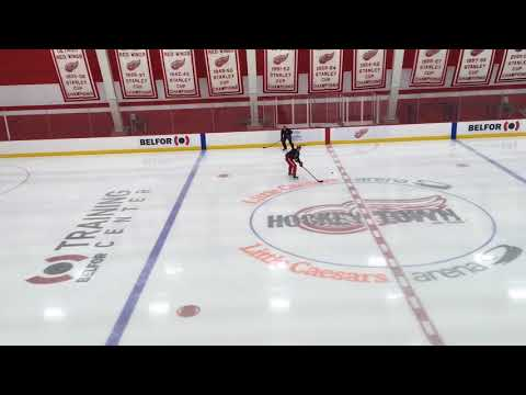 Injured Red Wings' defenseman Danny DeKeyser skates before practice