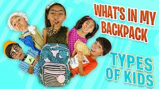 What's In My Backpack Parody - Types of Kids : Funny Back To School Skits // GEM Sisters
