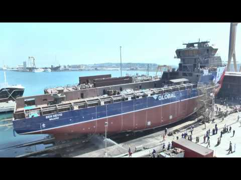Cemre Shipyard NB112 Ben Nevis Launching (Havyard) Global Offshore