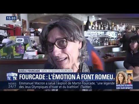 L'émotion de la mère de Martin Fourcade à Font-Romeu après sa 4e médaille d'or