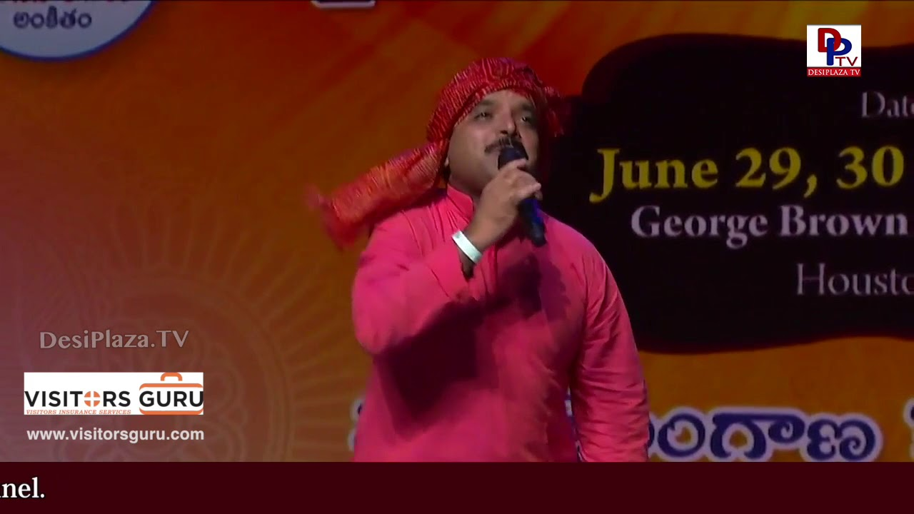 Bikshu Naik wonderful performance at World Telangana Convention 2018 by ATA Telangana - DesiplazaTV