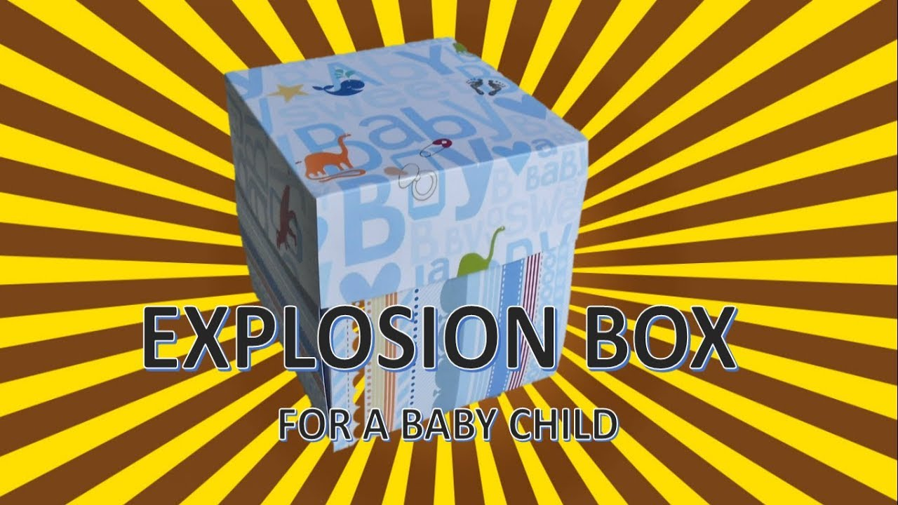 Diy craft explosion box for a baby child with blue texture art diy craft explosion box for a baby child with blue texture art and craft do it yourself solutioingenieria Gallery