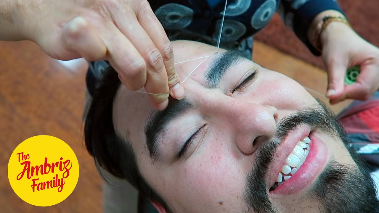 Guy Gets His Eyebrows Threaded For The First Time Youtube