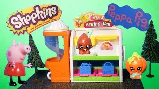 SHOPKINS The Shopkins Fruit and Vegie Stand with Peppa Pig a Shopkins Video Toy Review