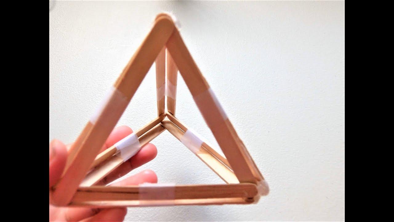 Platonic Solid Tetrahedron Model Popsicle Sticks Youtube