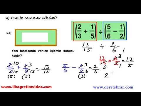 6. Sınıf Matematik 1. Dönem 2. Yazılı Sınav (örnek 2)
