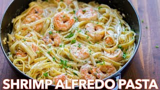 How To Make Creamy Shrimp Alfredo Pasta - Natasha's Kitchen