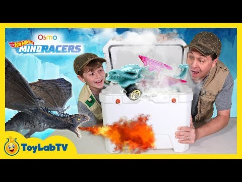 Surprise Dragon & Toy Car Hunt! Osmo Hot Wheels MindRacers Challenge with Aaron vs LB & Big Dinosaur
