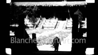 1920s Film of China: Interior courtyards of Ming Tombs near Beijing