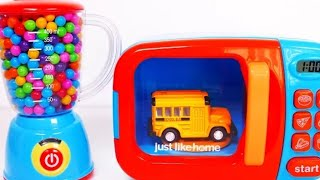 Learn your colors with vehicles for kids and kitchen appliances like microwave and blender.