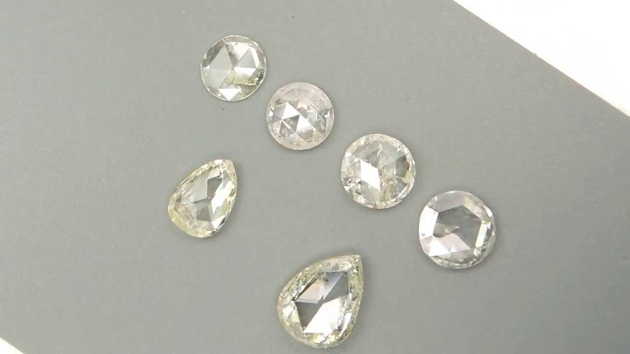 Natural Loose White Diamonds Old Rose Cut Round Pear 7