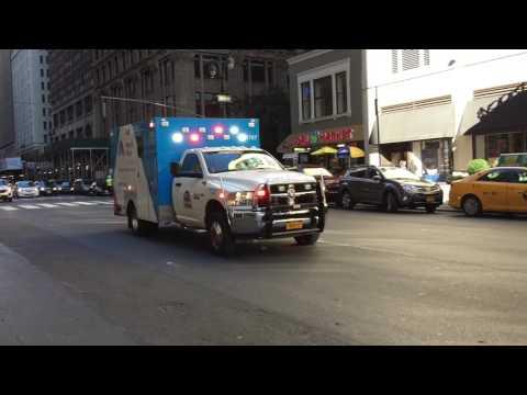 MOUNT SINAI WEST HOSPITAL EMS AMBULANCE RESPONDING ON 7TH AVENUE IN MIDTOWN, MANHATTAN, NYC.