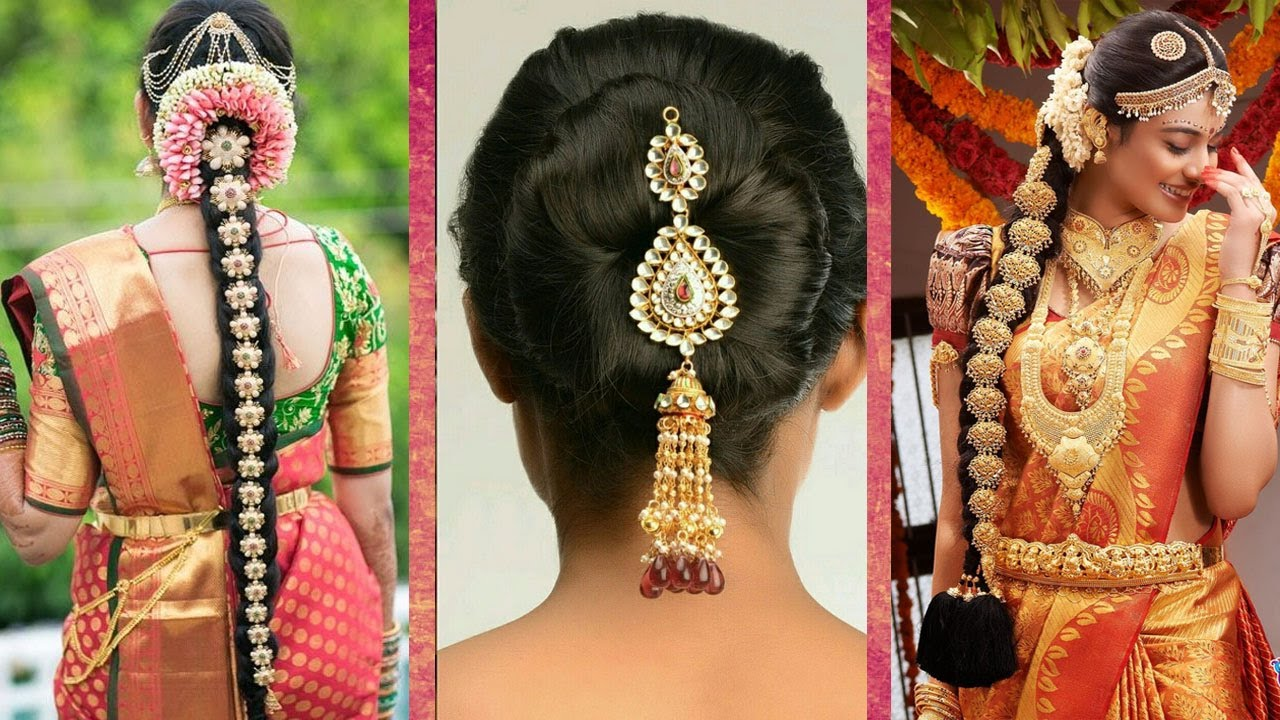 Indian Bridal Hairstyles Wedding Step By Bun And Plait