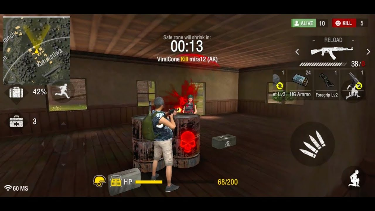 Free Fire Battlegrounds 4 7 Kills Android Ios Gameplay