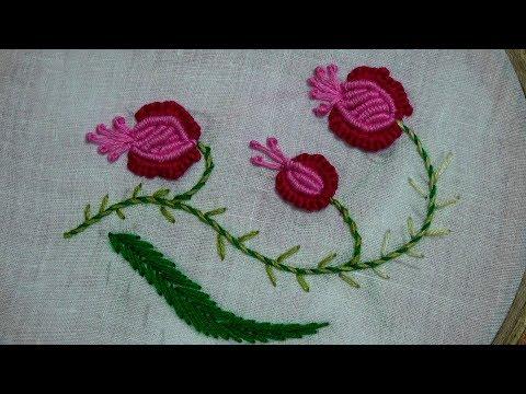 Hand Embroidery of Cast-On Stitch and Bullion Stitch