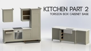 In this video I build the torsion box base that will hold the cabinets on the sink side of the kitchen. I will build a similar base for the