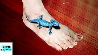 How To Draw 3D Lizard On Feet - Cool Optical Illusion | Cool 3D trick art on feet