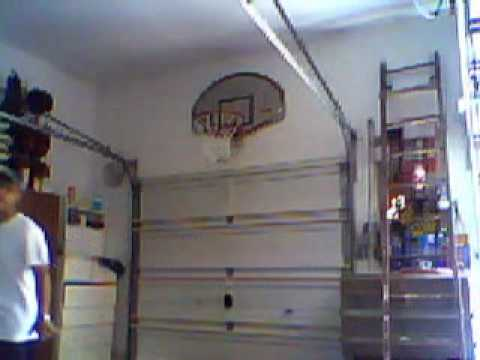 Ben 39 s indoor garage baskball hoop 2010 youtube for Basketball hoop inside garage