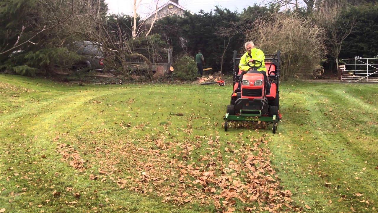 Kubota Lawn Tractor >> Kubota G23 with lawn rake - YouTube