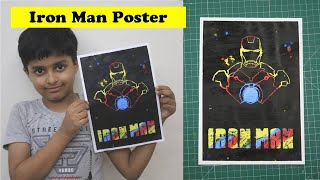 I AM IRON MAN Poster - Easy Oil Pastel Drawing for Beginners | Color Painting Tutorial - How to Draw