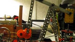 Erector Set oil rig first run (after modifations)