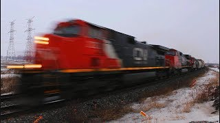 VERY FAST! CN freight doing 68 MPH !