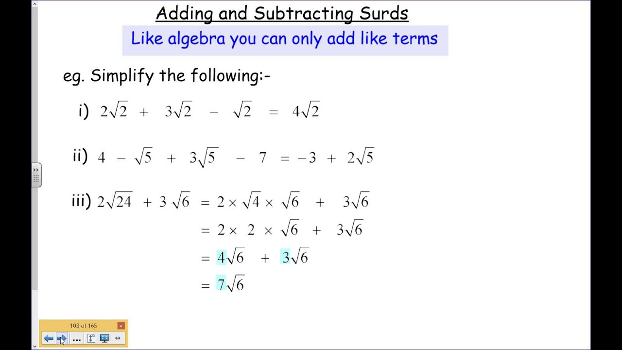 Adding And Subtracting Surds 5 Youtube Addition and subtraction of surds