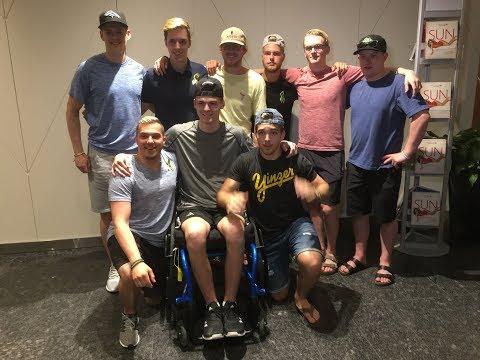 Humboldt Broncos crash survivors address media before the NHL Awards