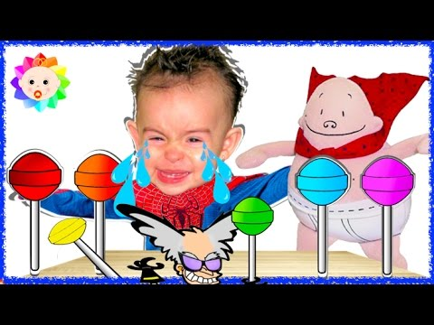 Thumbnail: Bad Spider Baby crying and learn colors -Colorful lollipops Captain Underpants Finger Family Song #4