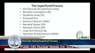 Public Informational Meeting for the Nuclear Metals Inc Superfund Site 5/25/17