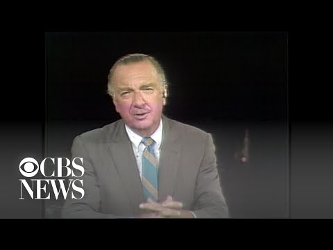 "Walter Cronkite kicks off CBS News report on Apollo 11, ""the most dangerous, but most thrilling"" …"
