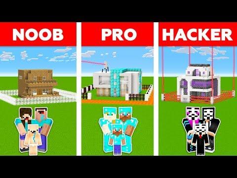Minecraft NOOB Vs PRO Vs HACKER : WORLD'S SAFEST FAMILY HOUSE CHALLENGE In Minecraft / Animation