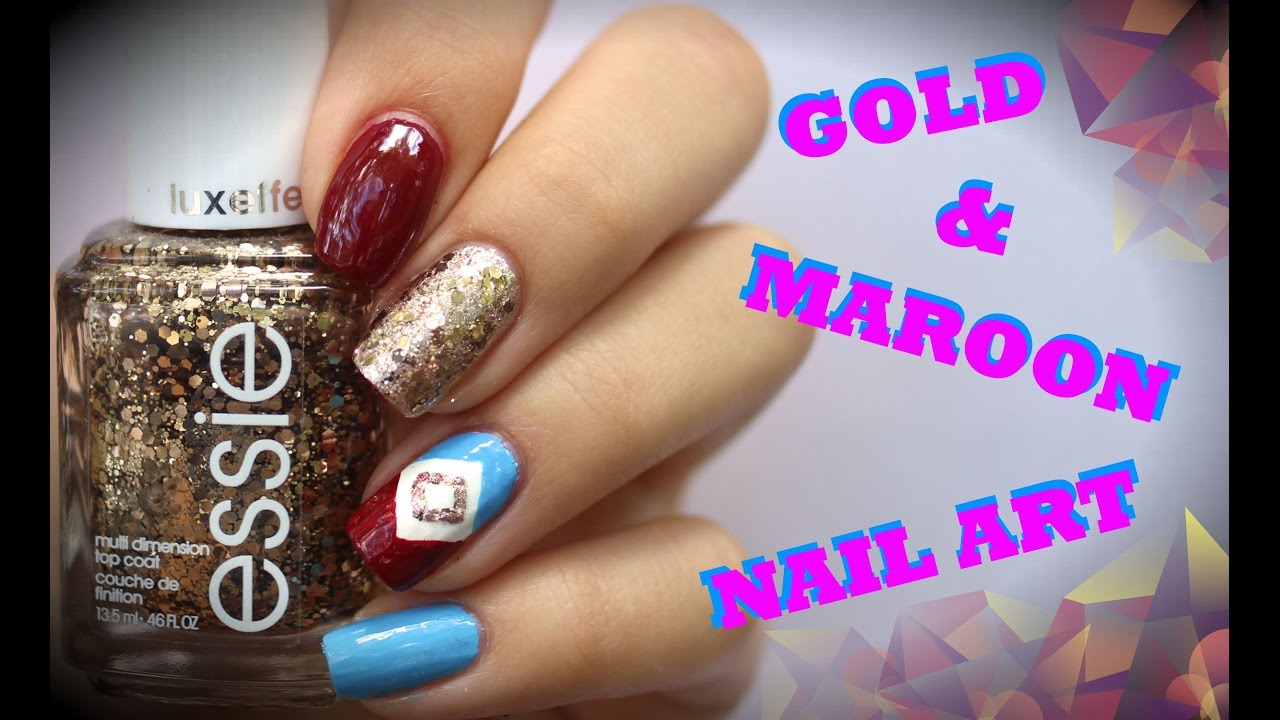 Simple gold and maroon nail art tutorial youtube simple gold and maroon nail art tutorial prinsesfo Images