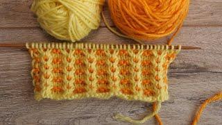 Двухцветный узор – ленивый жаккард спицами | Lazy Jacquard Knitting Pattern