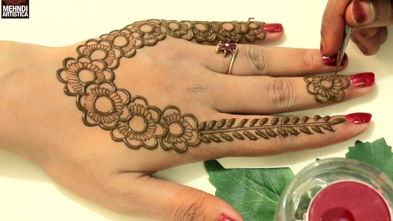 Simple Mehndi Designs For Hands 2017: Easy Stunning Designer Henna Mehndi Designs For Upper Side:Latest rh:youtube.com,Design