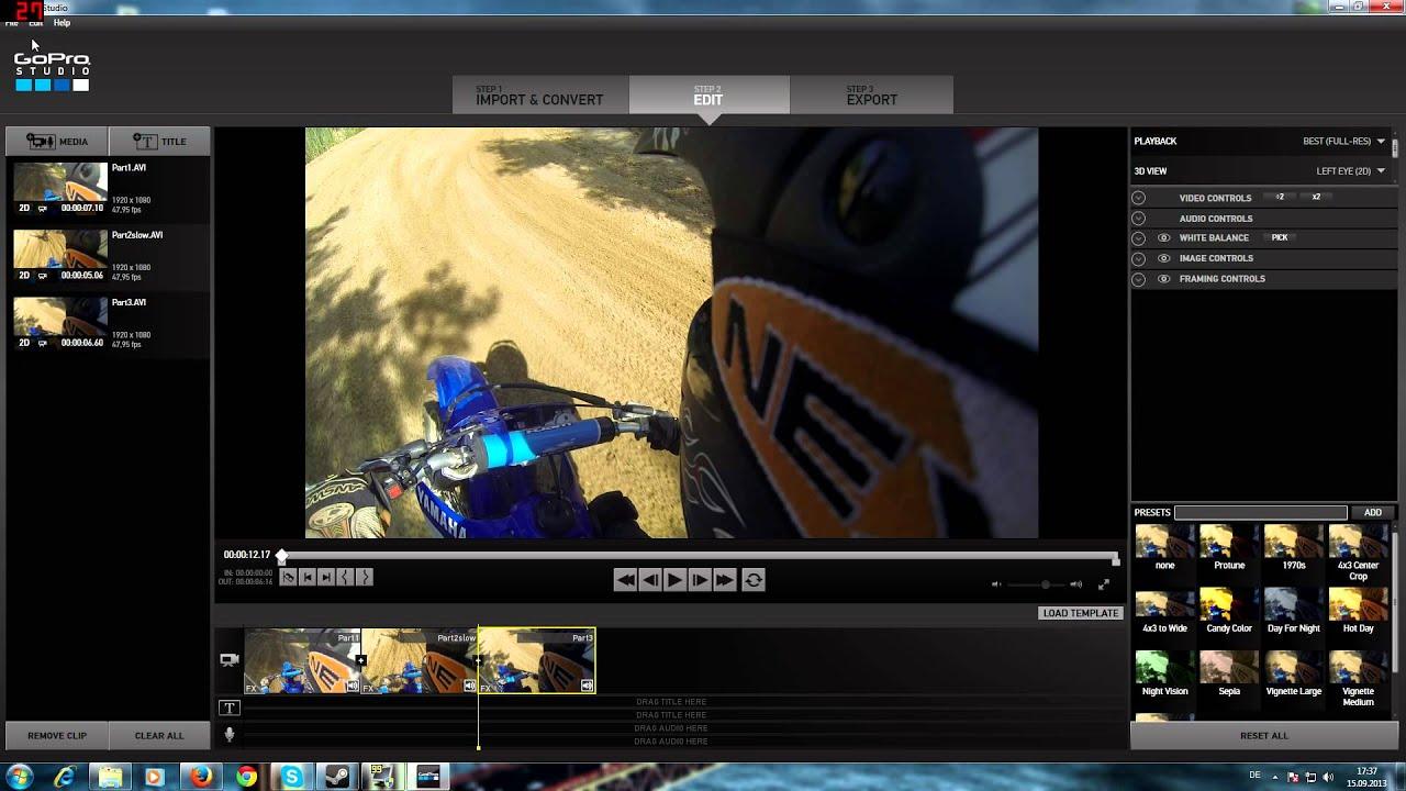 Gopro Studio Clips Zusammenschneiden Zeitlupe Slowmotion Youtube