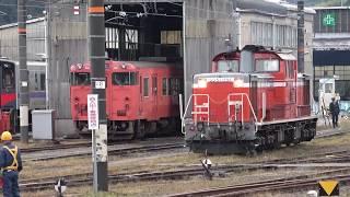 米子駅でDD51 1191号機の出区を撮影(HOT7020入換,クモヤ443系留置)(2018/10/31)