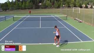 Tennis:  Female Pro vs. Amateur Male thumbnail
