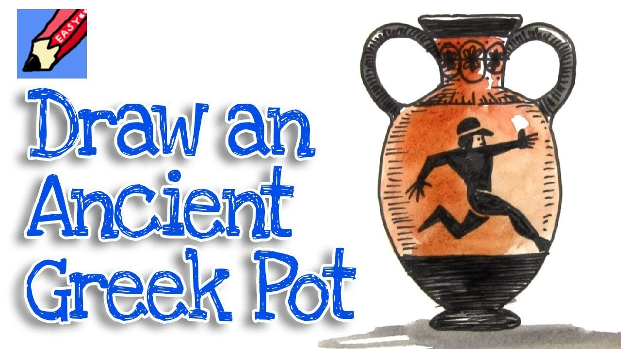 How to Draw an Ancient Greek Pot Real Easy , Step by Step , Amphora