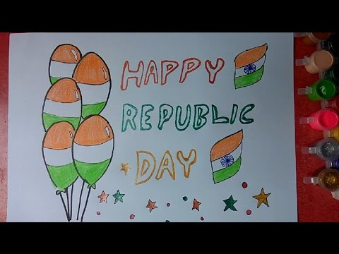 How to draw Republic Day Celebrations colorful poster step ...