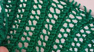 Kolay Ajurlu File Örgü Atkı, Şal  -Easy Lace Knitted Scarf