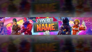 FORTNITE YOUTUBE BANNER TEMPLATE FREE DOWNLOAD LINK | PSD + FONT| #1