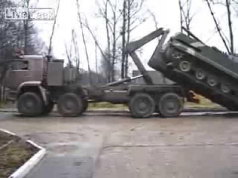 Russian military truck tank loading