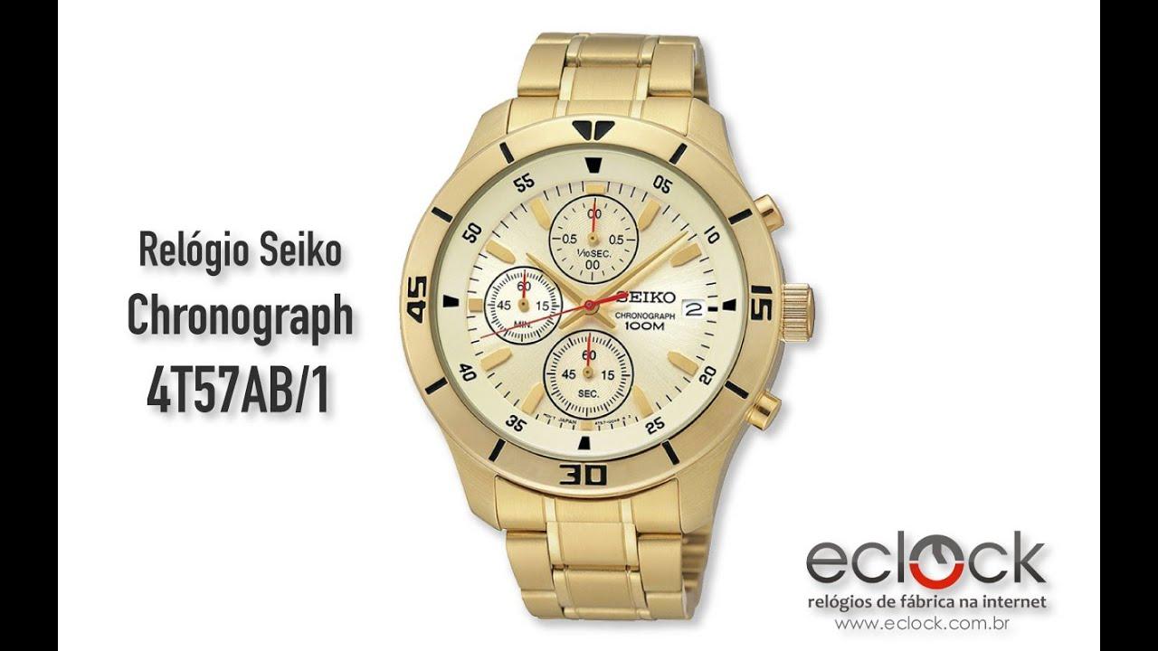 1382eb61251 Relógio Seiko Masculino Chronograph 4T57AB 1 - Eclock - YouTube