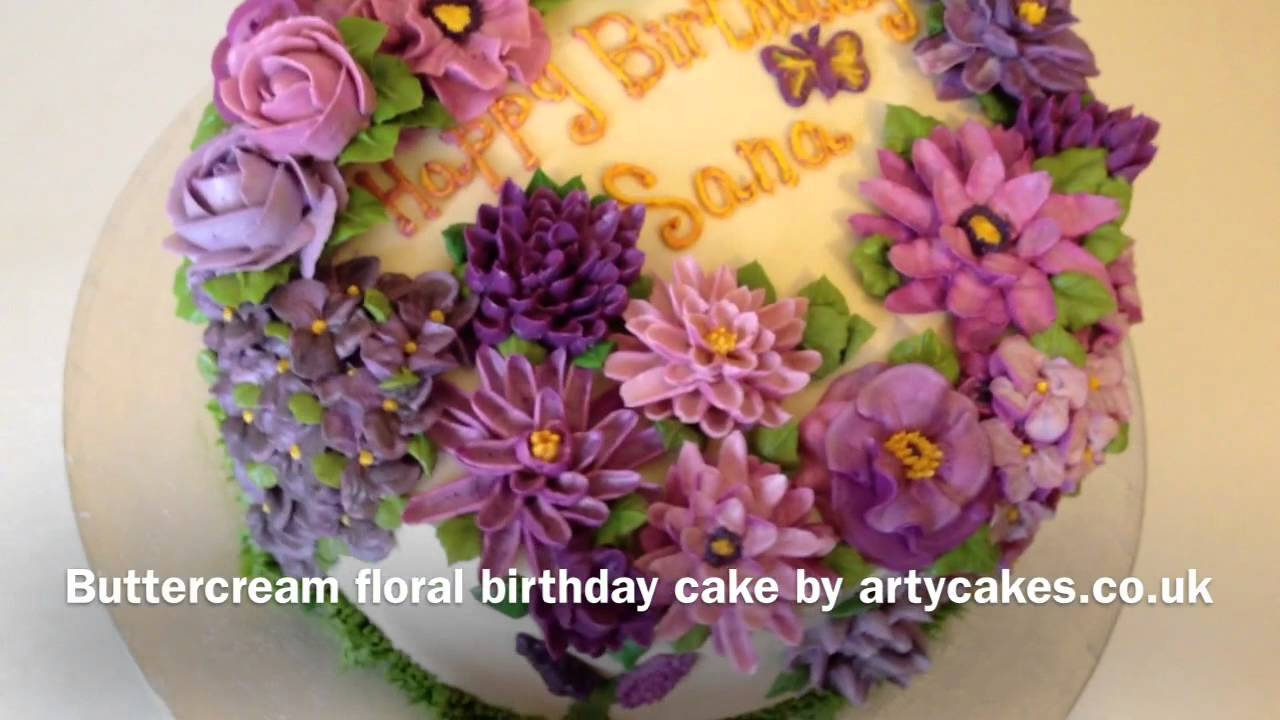 Buttercream Floral Birthday Cake Youtube