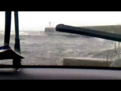 Arklow Harbour in April storm